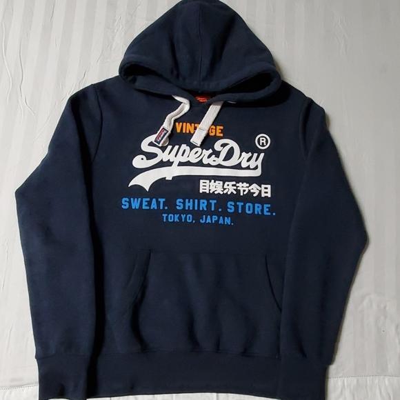 Superdry Mens New Vintage Logo NS Hoodie Overhead Long Sleeve Pullover Navy Blue